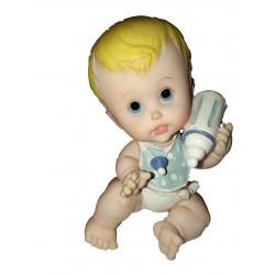 Figurine 1 bébé joufflu assis avec son biberon