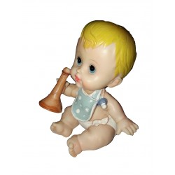 Figurine miniature 1 bébé fille étendu dans son bain un baquet oval