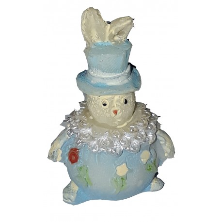 Figurine miniature 1 petit lapin clown bleu 2.9 centimètres de haut
