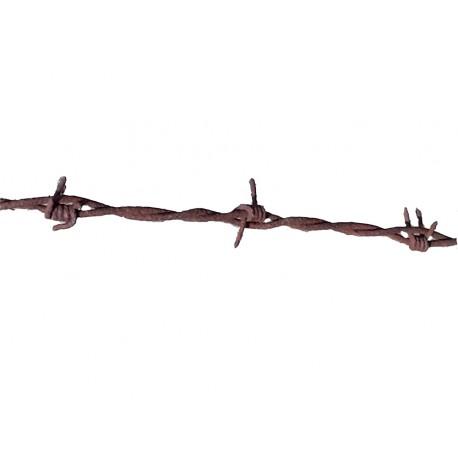 Véritable fil barbelé rouillé, usé, abimé, tordu 2 mètres de féraille interndit aux mineurs
