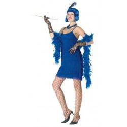 Robe à franges charleston années 1920 1930 modèle bleu