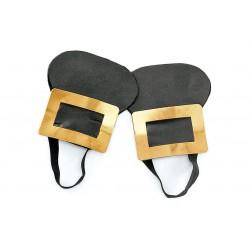 Boucles de chaussure façon marquis couleur or en acier et faux cuir