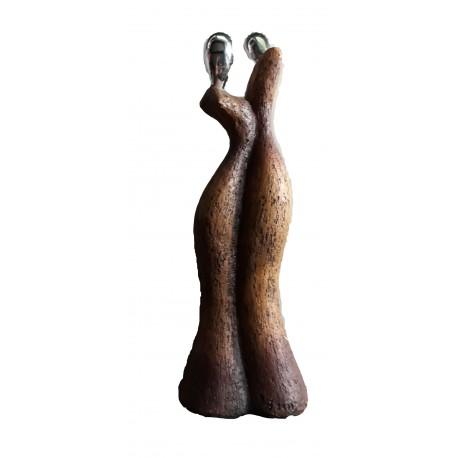 Statuette couple de mariés figurine en résine imitant la terre cuite 26.50 centimètres