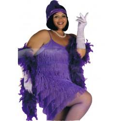 Robe à franges charleston années 1920 1930 modèle violet grande taille unique