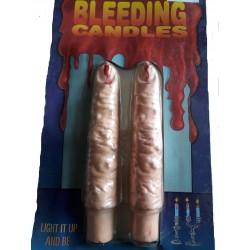 2 chandelles sanguinolantes Bougies Flambeaux en forme de doigts