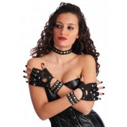 Kit Punk Rocker mitaines à clous, collier, bracelets cloutés sur faux cuir noir