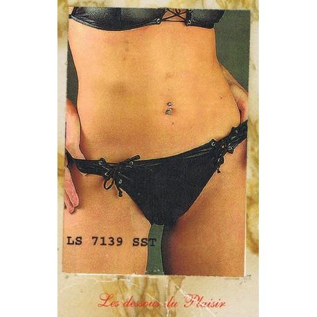 Culotte tanga noire maintenue avec des cordelettes noires sur le cote taille M