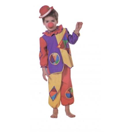 Petit clown déguisement coloré taille 92 cm 2 à 3 ans