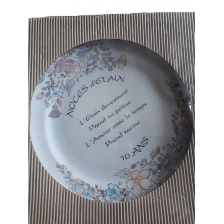 """Assiette en porcelaine """" Noces d'étain """" 10 ans de mariage motifs floraux 2 centimètres"""