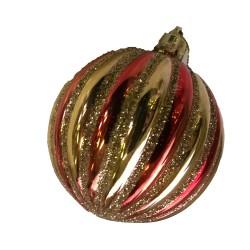 Boule de noël rouge et or avec paillettes dorées à suspendre dans votre sapin de noë