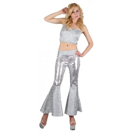 La diva du disco ensemble bustier et pantalon argenté taille M/L