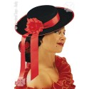 Chapeau Espagnol Senorita Espagne noir avec ruban et fleur rouge