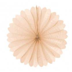 Eventail en papier alvéolé couleur champagne rosé diamètre 68 centimètres