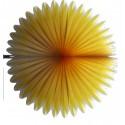 Eventail en papier alvéolé bicolore ivoire et jaune mangue diamètre 68 centimètres