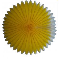 Eventail en papier alvéolé bicolore ivoire et jaune diamètre 68 centimètres