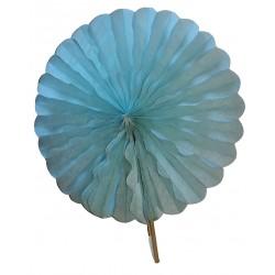 Eventail en papier alvéolé couleur bleu turquoise pâle diamètre 24 centimètres