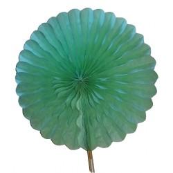 Eventail en papier alvéolé couleur vert diamètre 24 centimètres