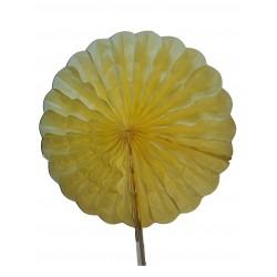 Eventail en papier alvéolé couleur jaune diamètre 24 centimètres