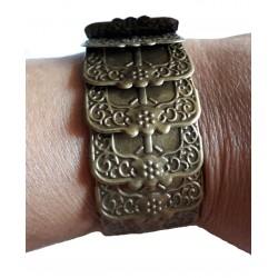 Bracelet couleur bronze articulé monté sur large élastique noir