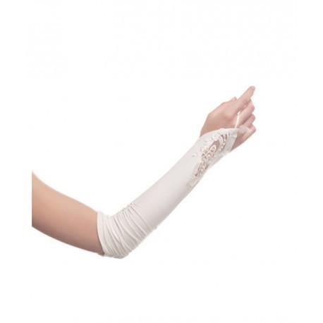 Mitaines longues en satin mat blanc motif sur le dessus de la main marque DeJean