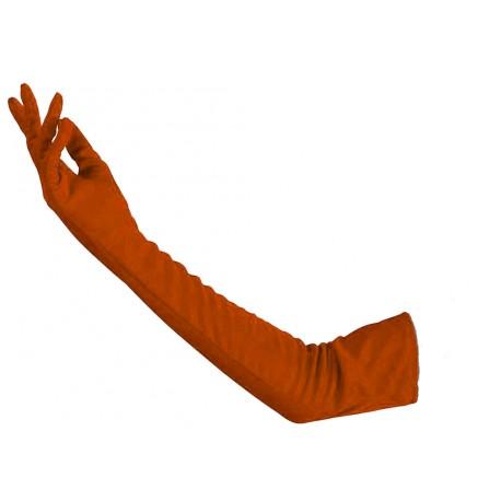 Gants en satin couleur corail très long 48 cm gants de soirée