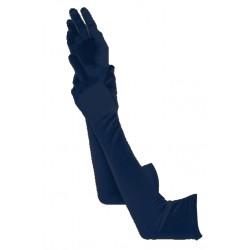 Gants en satin couleur bleu nuit très long 48 cm gants de soirée