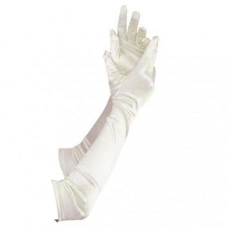 Gants en satin couleur ivoire très long 46 cm gants de soirée