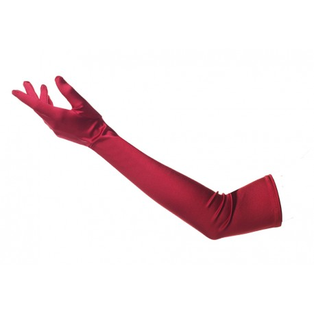 Gants en satin brillant rouge hyper long 65 centimètres environ gants de cérémonie mariée