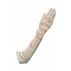 Gants très long 55 cm en voile cristal blanc naturel modèle Molière de chez Crinoligne