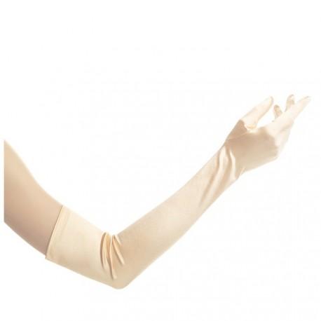 Gants en satin beige doré clair extra long 53 cm environ
