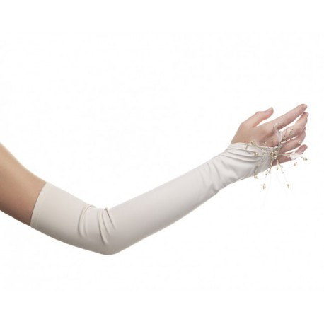 paire de Mitaines ivoire mat perlée de très belle qualité pour mariée e9b9d682e27e