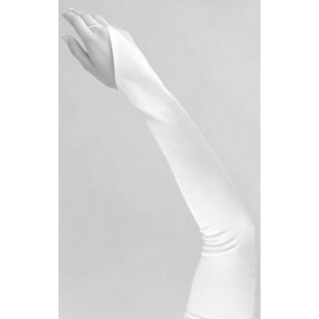 Mitaines extra longues de couleur satin blanc 59.5 centimètre pour mariée