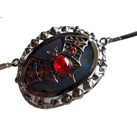 Cache oeil de pirate ou de vampire ? chauve souris Bijou acier gris et joyaux monté sur cordelette noire Halloween