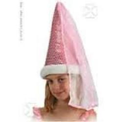 Chapeau de fée rose lamé et paillettes avec voile comme au Moyen