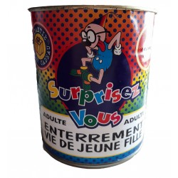 Boite de conserve comique spécial soirées enterrement vie de jeune fille réservé aux adultes