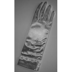 Gants perlés en satin blanc court Marque Crinoligne Modèle Cannelle