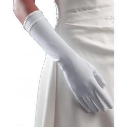 Gants longs ivoire mat Marque Crinoligne Modèle perfection 35 centimètres double biais pour la mariée