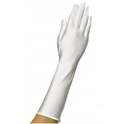 Gants satin ivoire longueur 37 centimètres avec un biais sur le haut