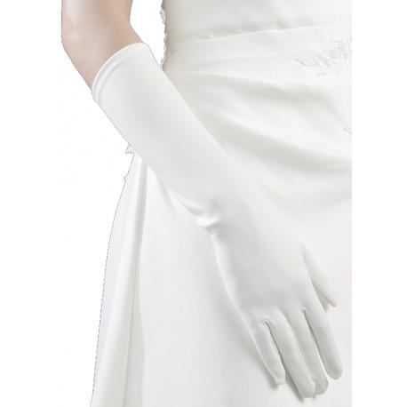 Gants ivoire clairmat longueur 37 centimètres Crinoligne modèle Claudia