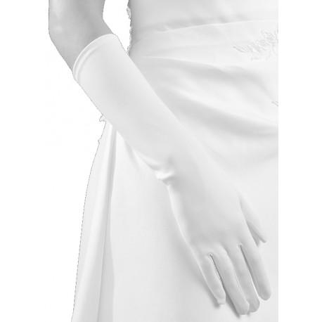 Gants blanc mat longueur 37 centimètres Crinoligne modèle Claudia