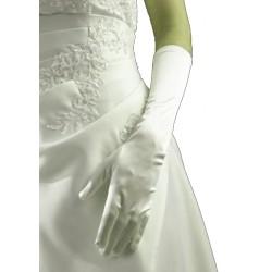 Gants en satin champagne brillant longueur 36 centimètres Crinoligne modèle Carla