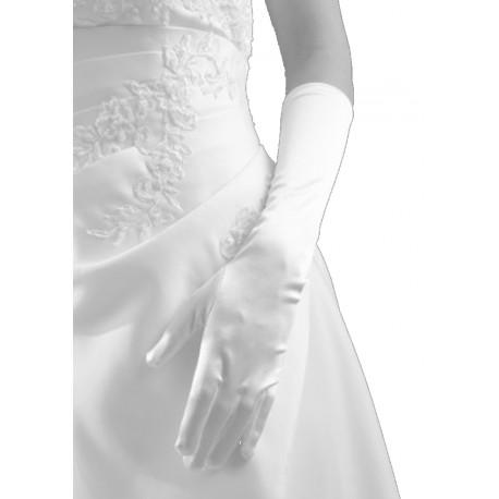 Gants en satin blanc brillant longueur 37 centimètres Crinoligne modèle Carla