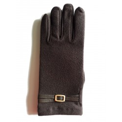 gants en fine polaire marron avec lanière de cuir et petie boucle