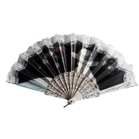 eventail-dentelle-noire-motif-floral-1-visage-imprime-sur-tissu
