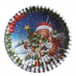 10 petites assiettes plates nounours de noël Ø 18.5 cm