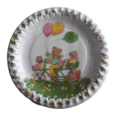 10-petites-assiettes-plates-famille-nounours-printanieres-o-18-cm