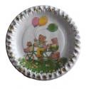 10 petites assiettes plates famille nounours à vélo Ø 18 centimètres