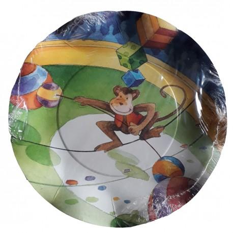 10 assiettes plates festonnées motifs cirque avec un singe Ø 21 cm
