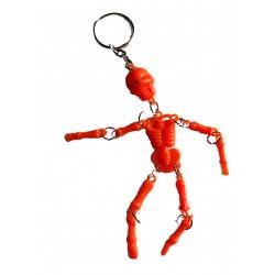 Porte clefs en forme de petit squelette articulé orange