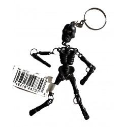 Porte clefs en forme de petit squelette articulé noir
